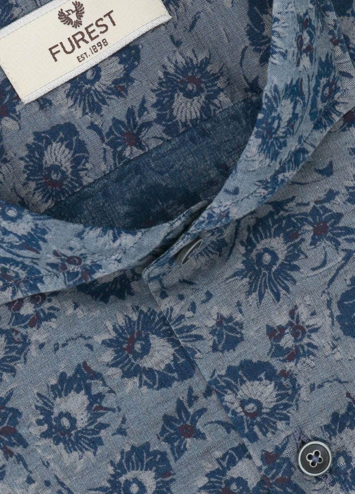 Camisa Leisure Wear SLIM FIT Modelo CAPRI color gris con estampado floral azulón. 100% Algodón. - Ítem1