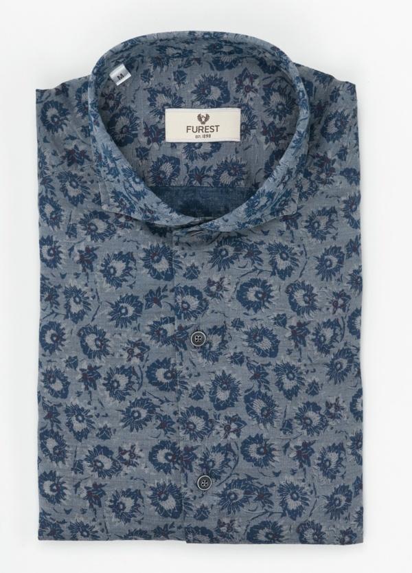 Camisa Leisure Wear SLIM FIT Modelo CAPRI color gris con estampado floral azulón. 100% Algodón.