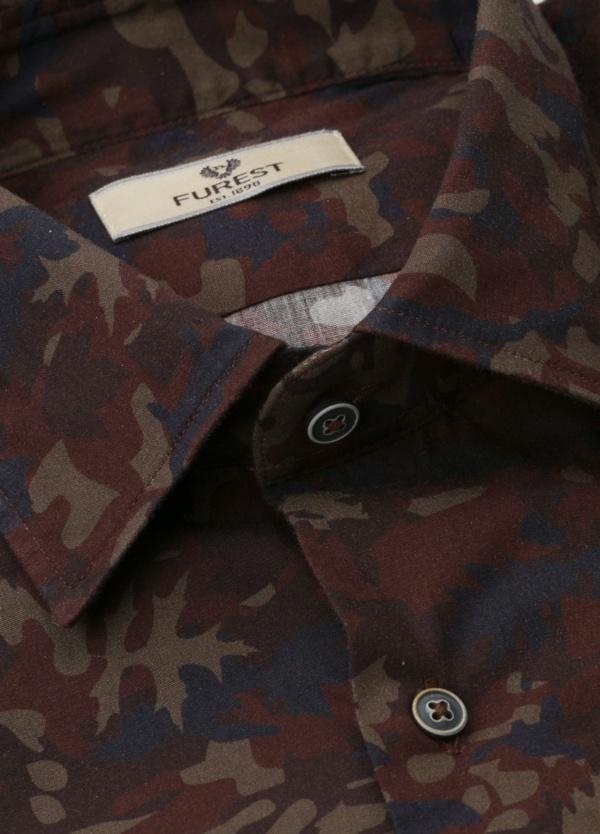 Camisa Leisure Wear SLIM FIT modelo PORTO estampado camuflaje color marrón. 100% Algodón. - Ítem1