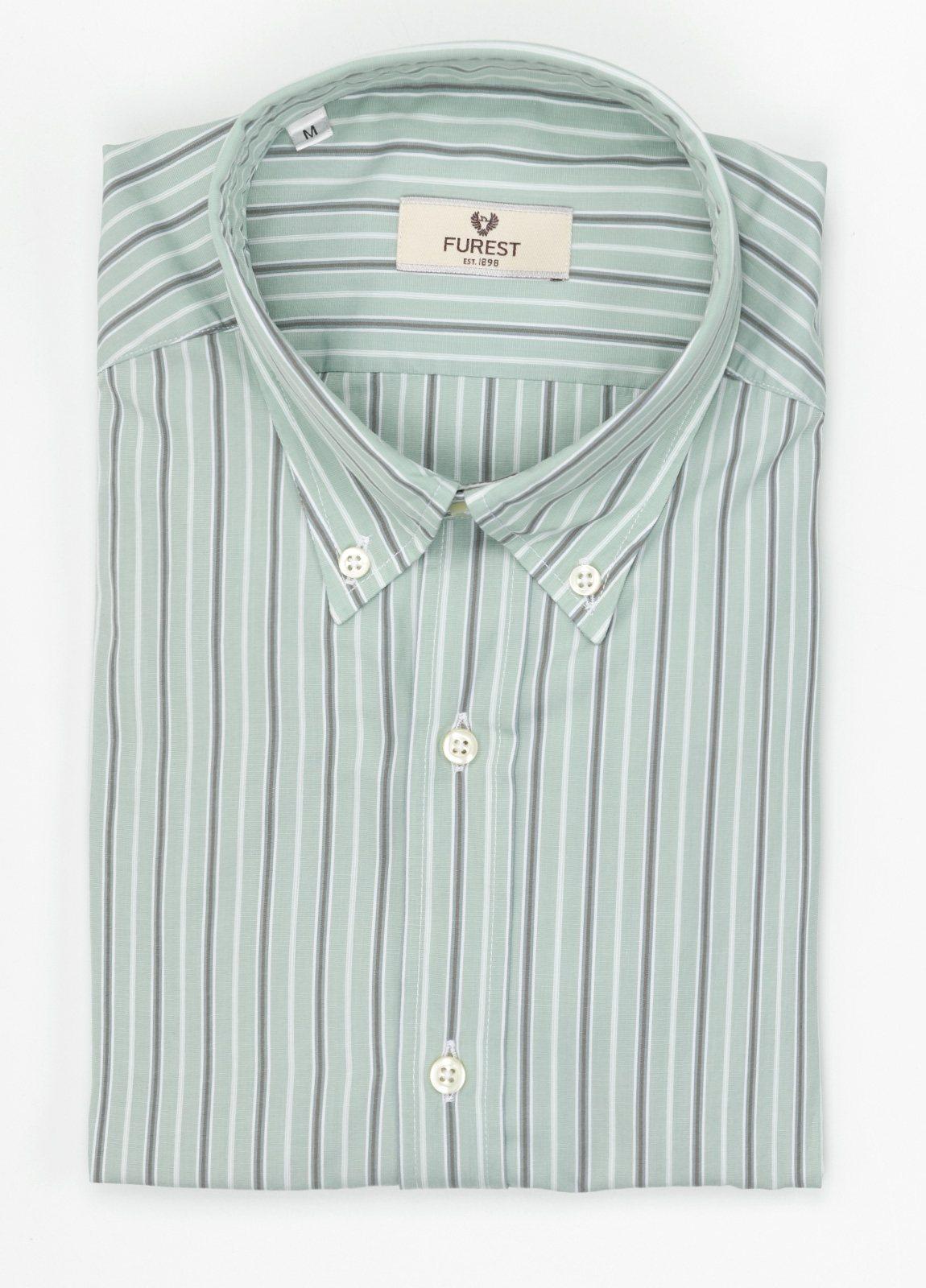 Camisa Leisure Wear SLIM FIT Modelo BOTTON DOWN color verde, estampado rayas gris. 100% Algodón. - Ítem4
