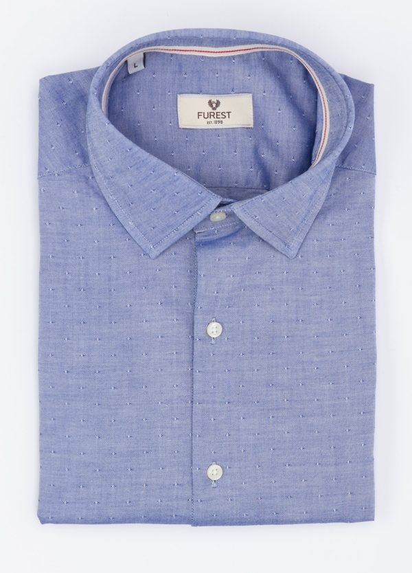 Camisa Leisure Wear SUPER SLIM modelo PORTO color azul. 100% Algodón.
