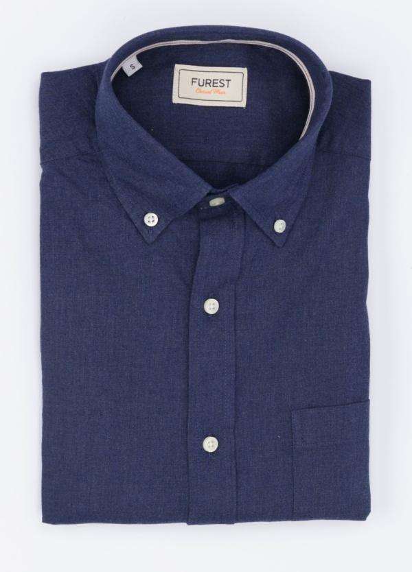 Camisa Leisure Wear SLIM Botón Down, color azul noche. 100% Algodón.