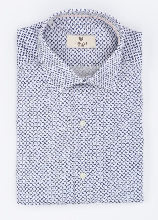 Camisa Leisure Wear Slim Fit, modelo PORTO, micro dibujo color azul. 100% Algodón.