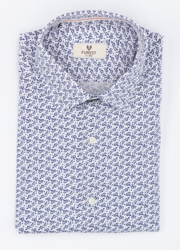 Camisa Leisure Wear SLIM FIT modelo PORTO estampado color azul . 100% Algodón.