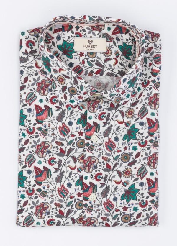 Camisa Leisure Wear SLIM FIT, modelo PORTO, estampado floral granate y verde, 100% algodón.