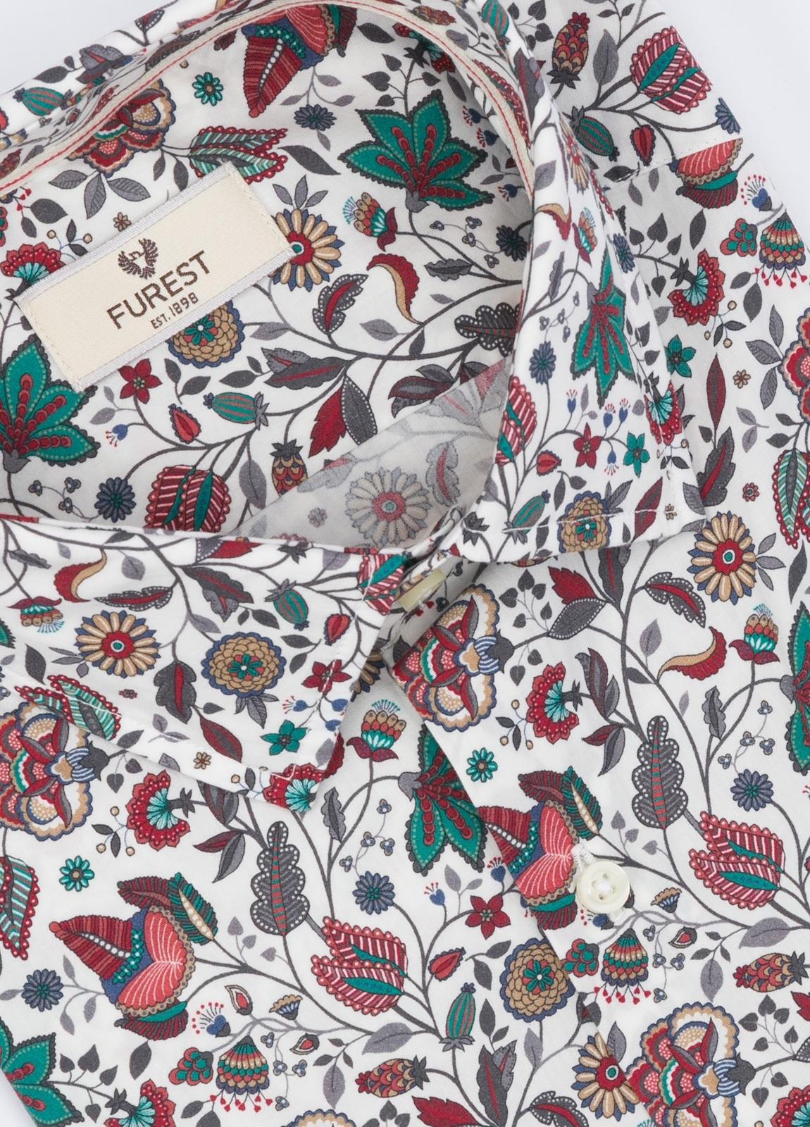 Camisa Leisure Wear SLIM FIT, modelo PORTO, estampado floral granate y verde, 100% algodón. - Ítem1