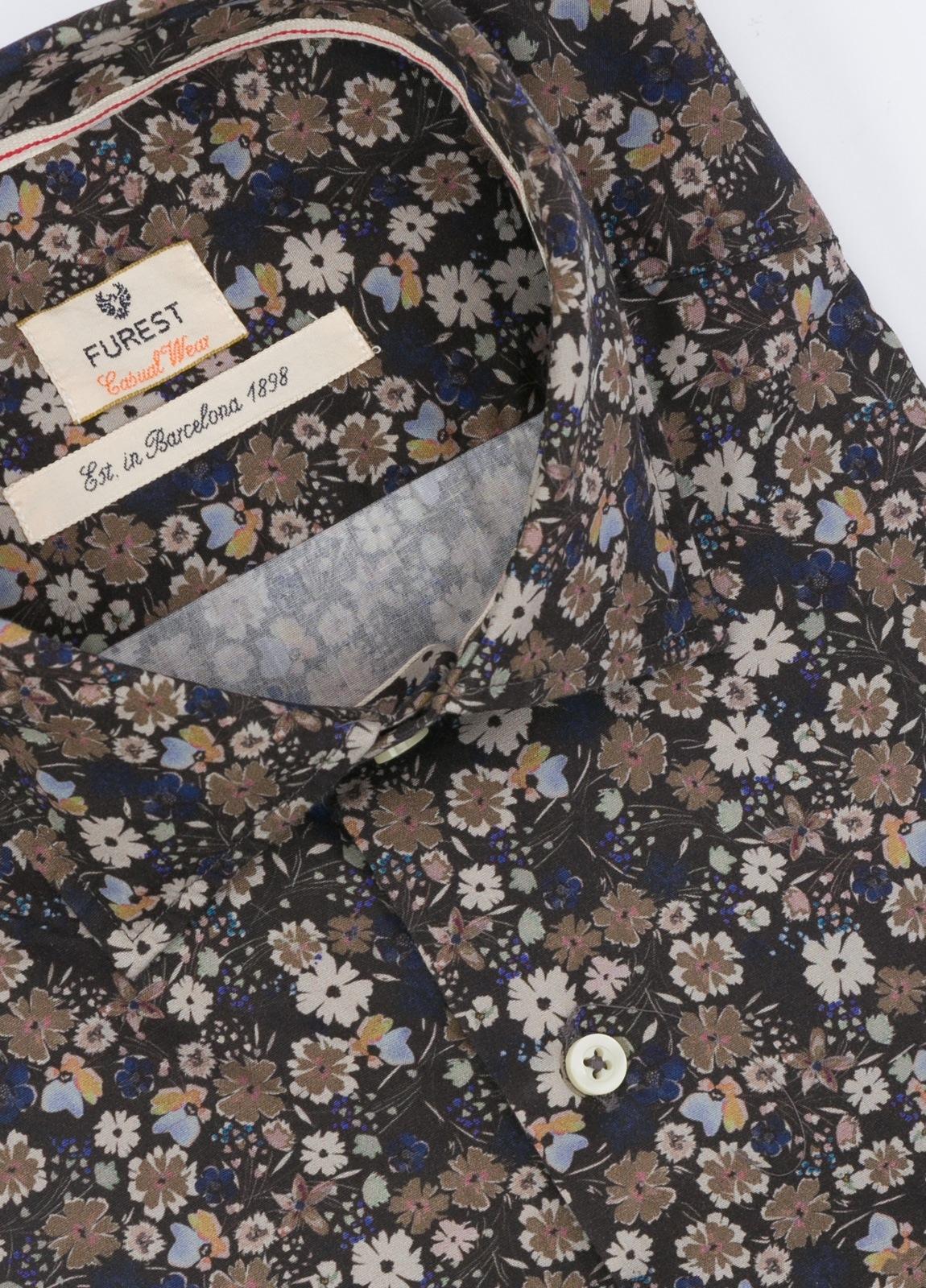 Camisa Leisure Wear SLIM FIT , modelo PORTO estampado floral color azul . 100% Algodón. - Ítem1