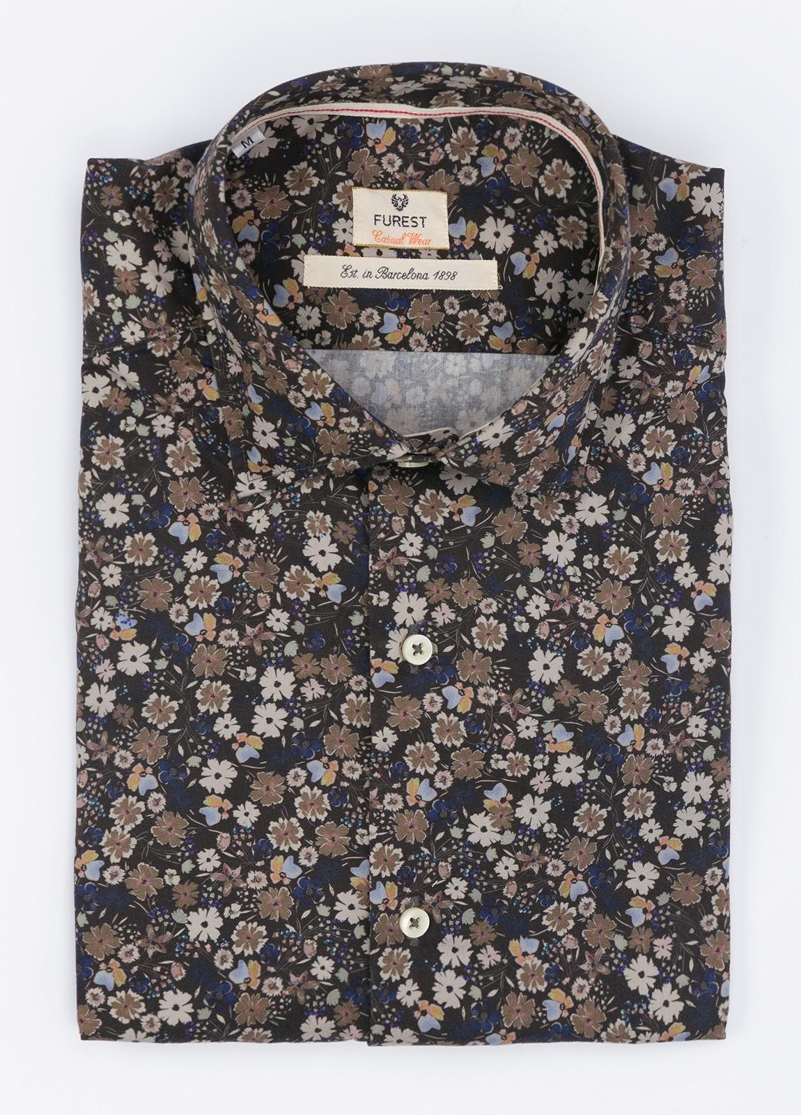 Camisa Leisure Wear SLIM FIT , modelo PORTO estampado floral color azul . 100% Algodón.