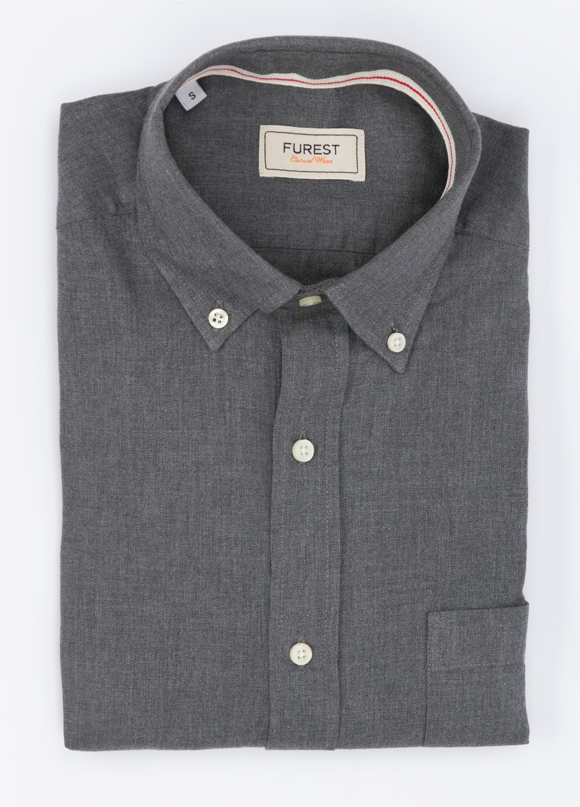 Camisa Leisure Wear SLIM Botón Down, color gris. 100% Algodón.