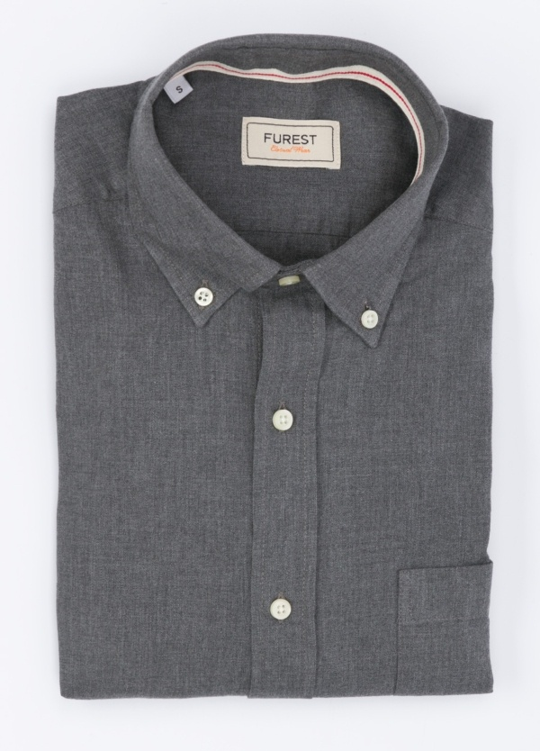Camisa Leisure Wear SLIM Botón Down, color gris. 100% Algodón.