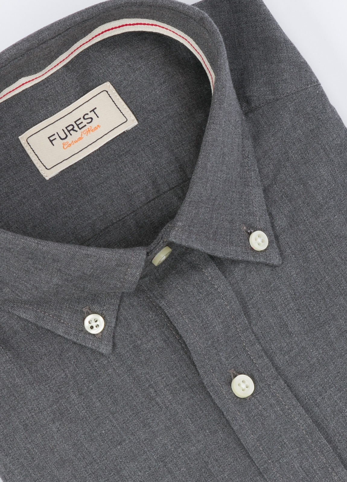 Camisa Leisure Wear SLIM Botón Down, color gris. 100% Algodón. - Ítem1