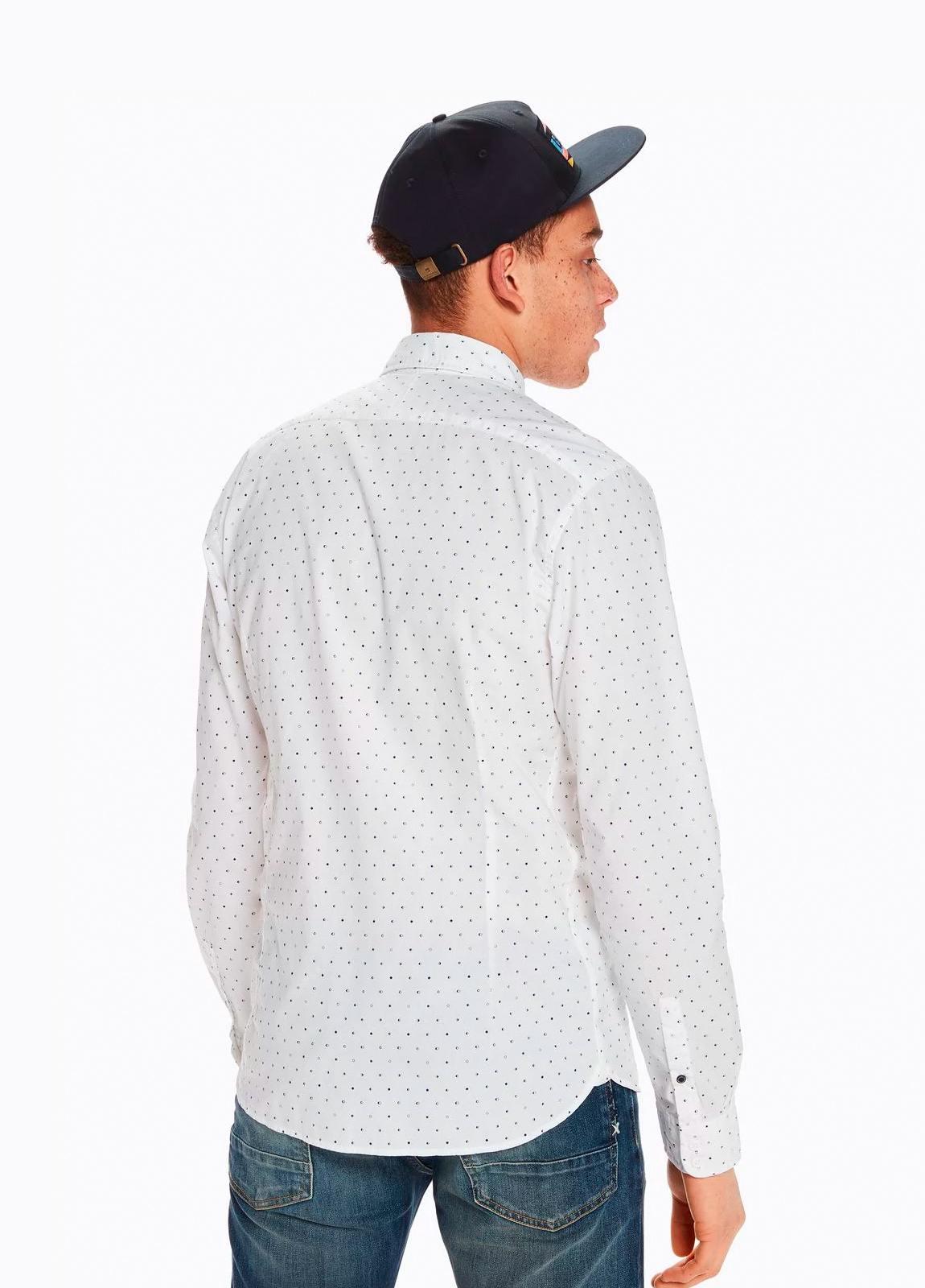 Camisa SLIM FIT, cuello botones. Estampado fases lunares, color blanco . 100% Algodón. - Ítem3