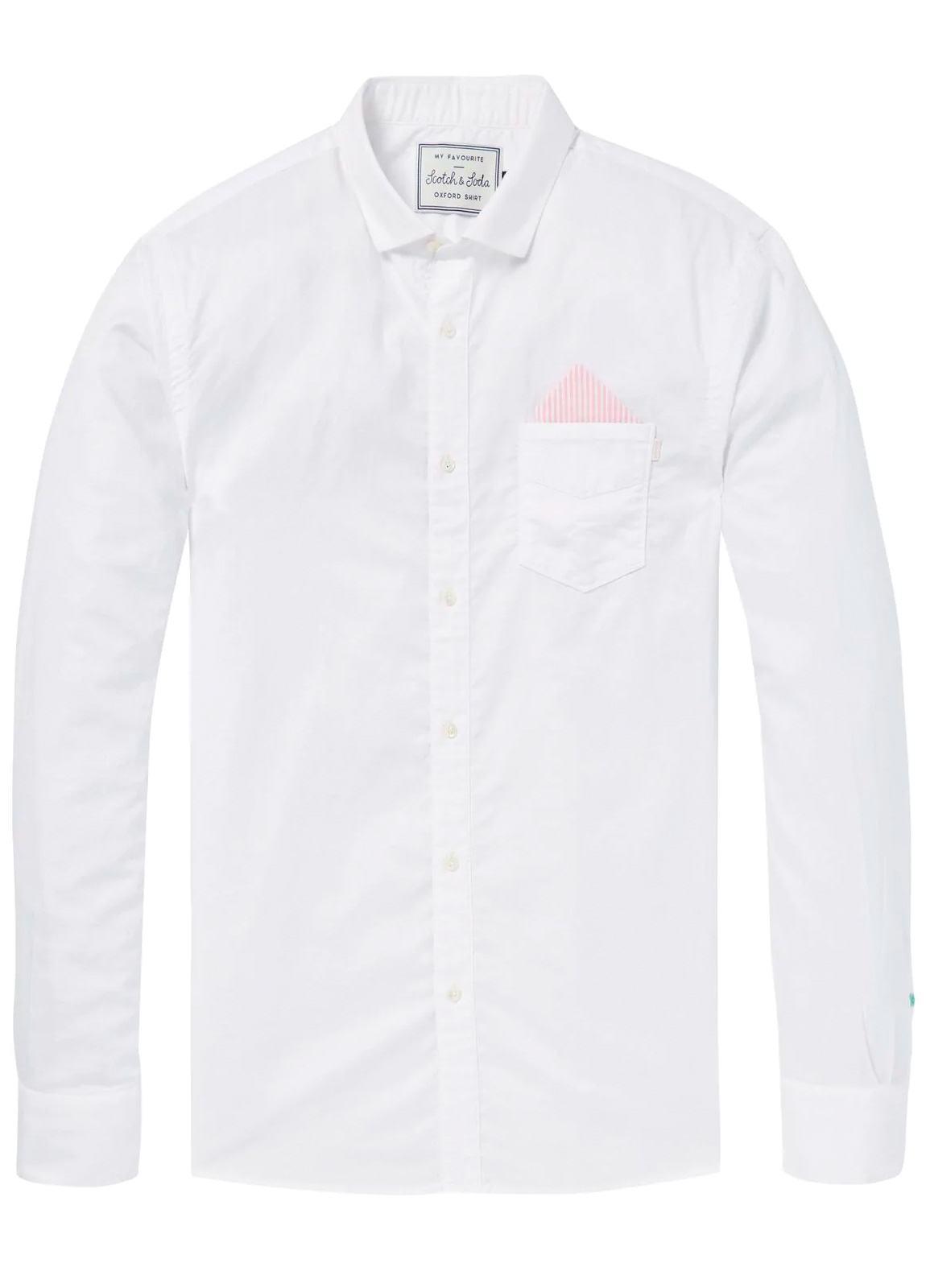 Camisa REGULAR FIT, cuello clasico, bolsillo pecho con pañuelo. Tejido oxford, lisa, color blanco . 100% Algodón.