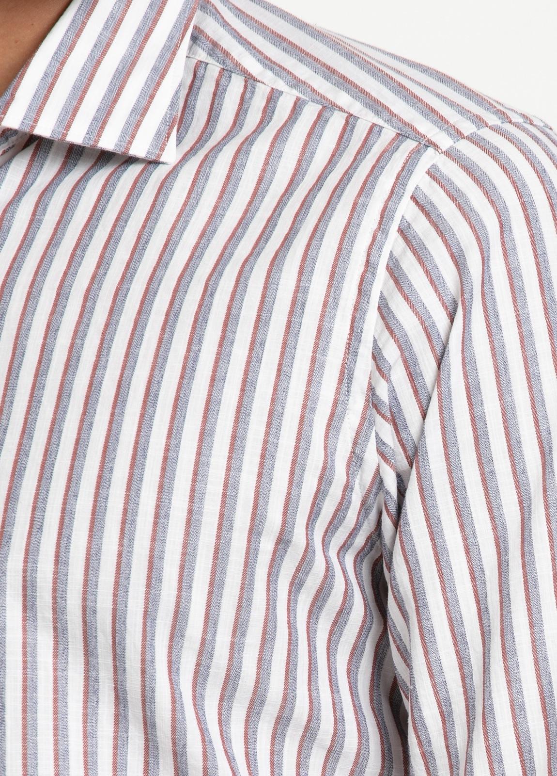 Camisa sport SLIM FIT, rayas color rojo y gris fondo blanco. 100% Algodón. - Ítem2