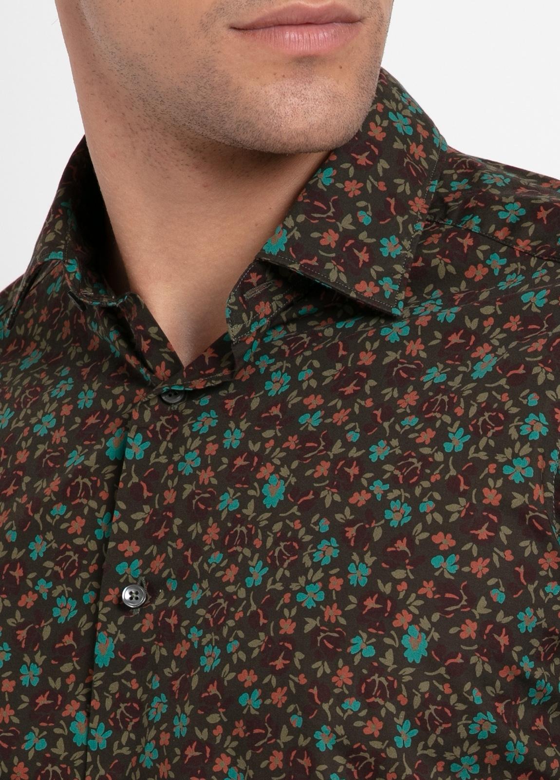 Camisa sport SLIM FIT modelo LEO estampado floral fondo marrón, 100% Algodón. - Ítem1