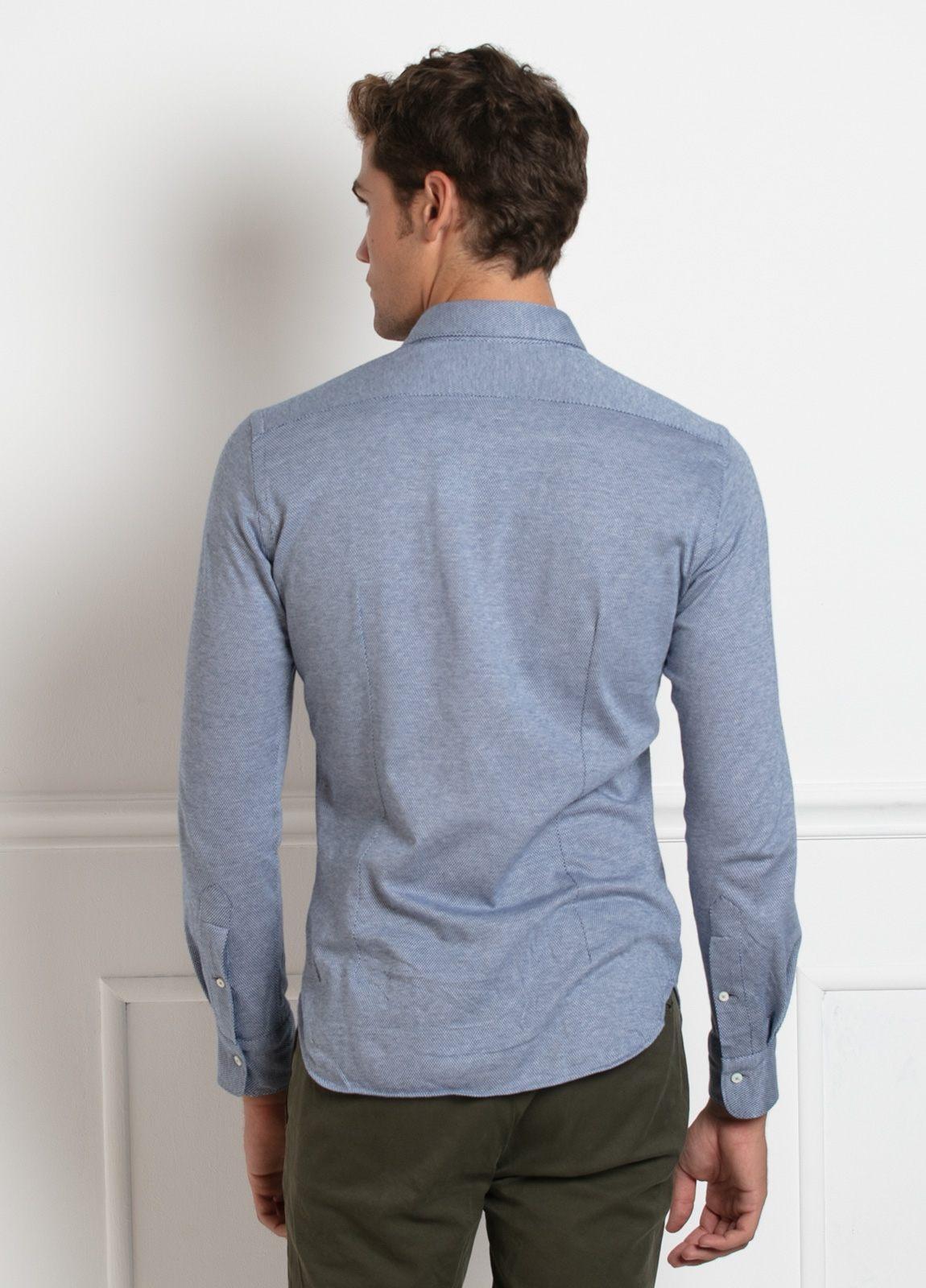 Camisa sport SLIM FIT modelo LEO textura color azul. 100% Algodón. - Ítem1