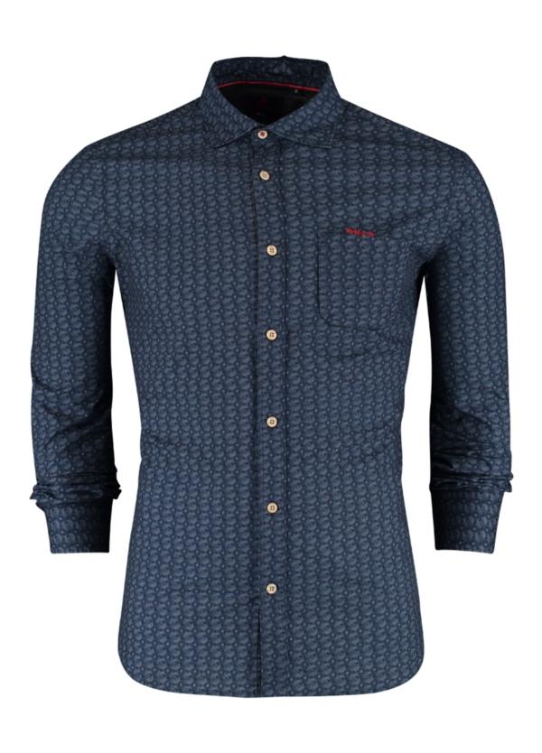 Camisa Sport m/larga, dibujo geométrico color azul, 100% Algodón.