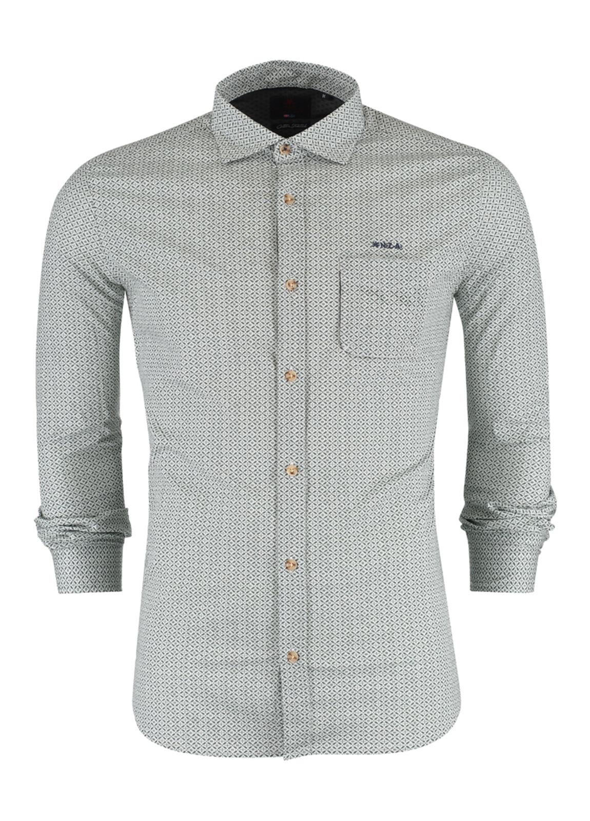 Camisa Sport m/larga, dibujo geométrico color verde, Algodón y elastan.