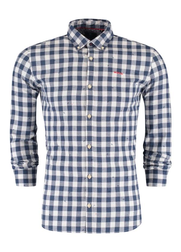 Camisa Sport m/larga y botones en el cuello, dibujo cuadros color azul, 100% Algodón franela.