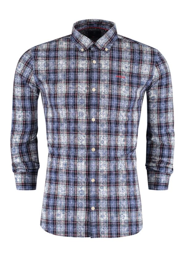 Camisa Sport m/larga y botones en el cuello, dibujo cuadros color azul sobre fondo floral, 100% Algodón franela.