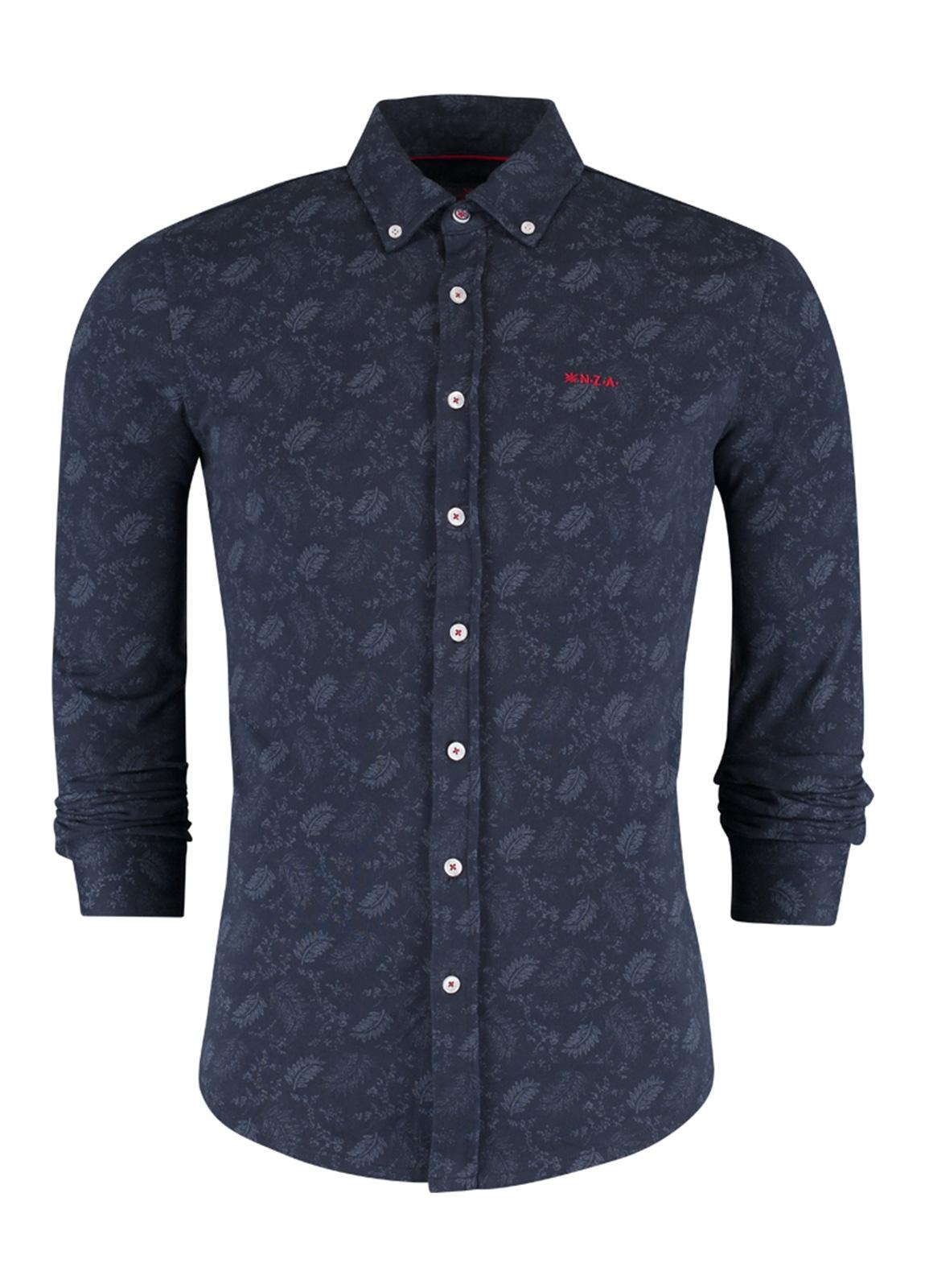 Camisa Sport m/larga de punto, con botones en el cuello, dibujo color azul, Algodón y elastán.
