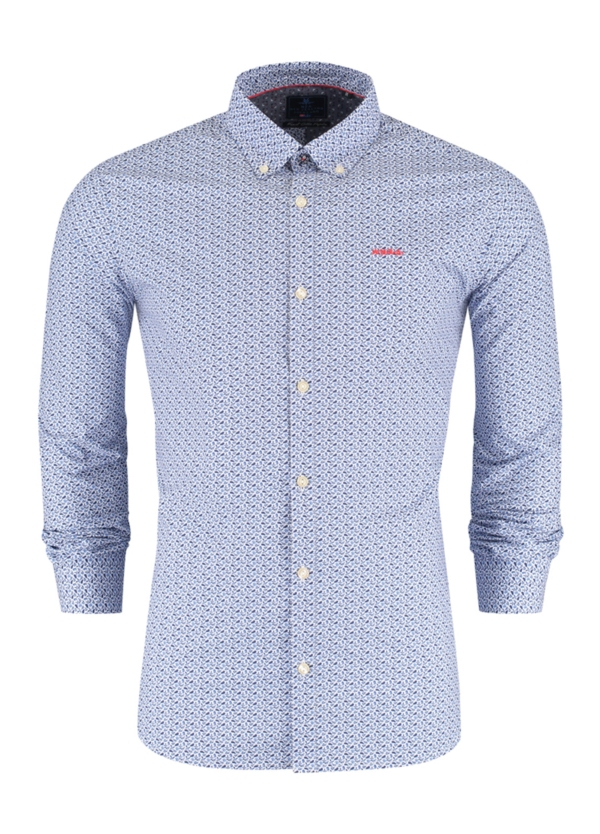 Camisa Sport m/larga, dibujo geométrico color azul celeste, 100% Algodón.
