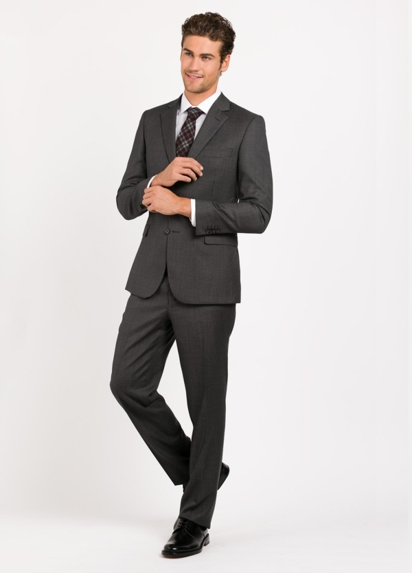 Traje liso REGULAR FIT, tejido CARLO BARBERA, color gris , 100% Lana.
