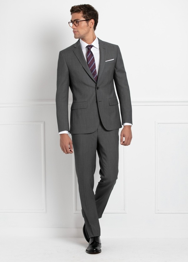 Traje liso SLIM FIT, tejido MARZOTTO, color gris medio, 100% Lana.