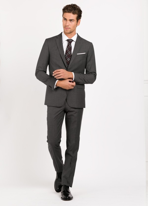 Traje liso SLIM FIT, tejido CARLO BARBERA, color gris marengo, 100% Lana.