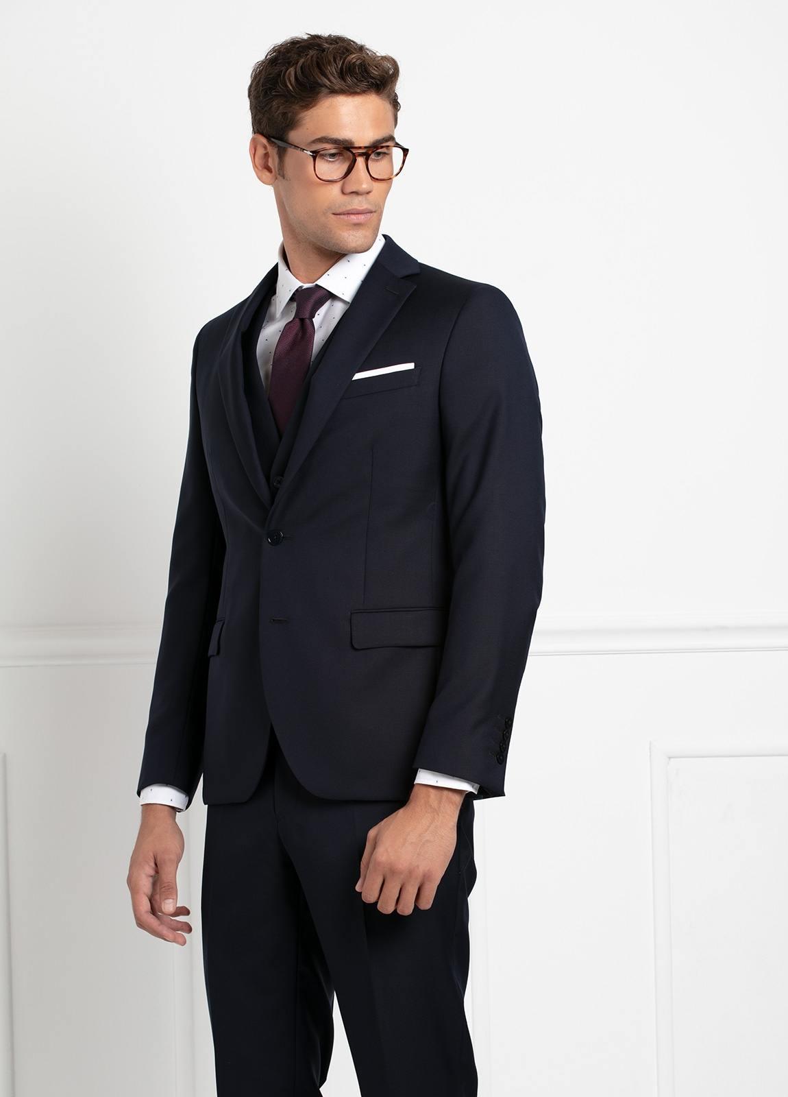 Traje liso SLIM FIT, tejido VBC con chaleco incluido, color azul marino, 100% Lana. - Ítem4