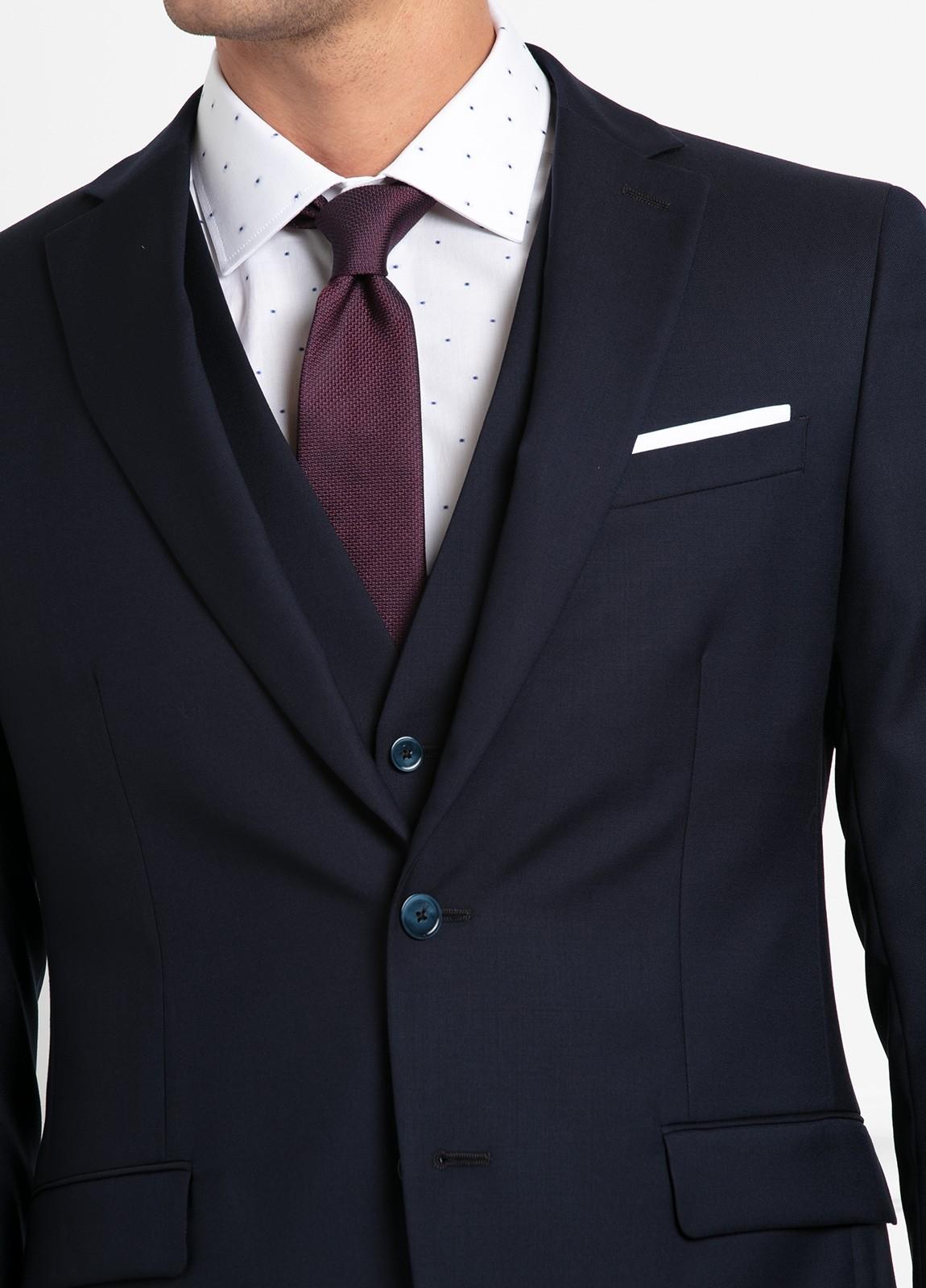 Traje liso SLIM FIT, tejido VBC con chaleco incluido, color azul marino, 100% Lana. - Ítem2