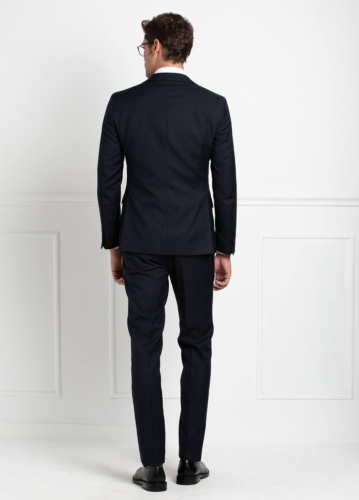 Traje liso SLIM FIT, tejido VBC con chaleco incluido, color azul marino, 100% Lana. - Ítem6