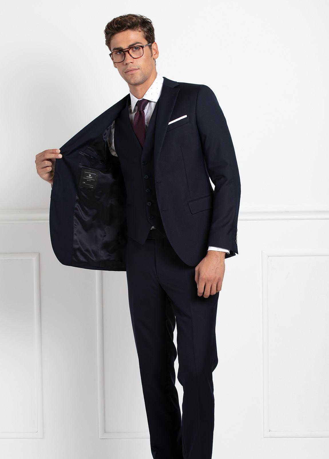 Traje liso SLIM FIT, tejido VBC con chaleco incluido, color azul marino, 100% Lana. - Ítem7