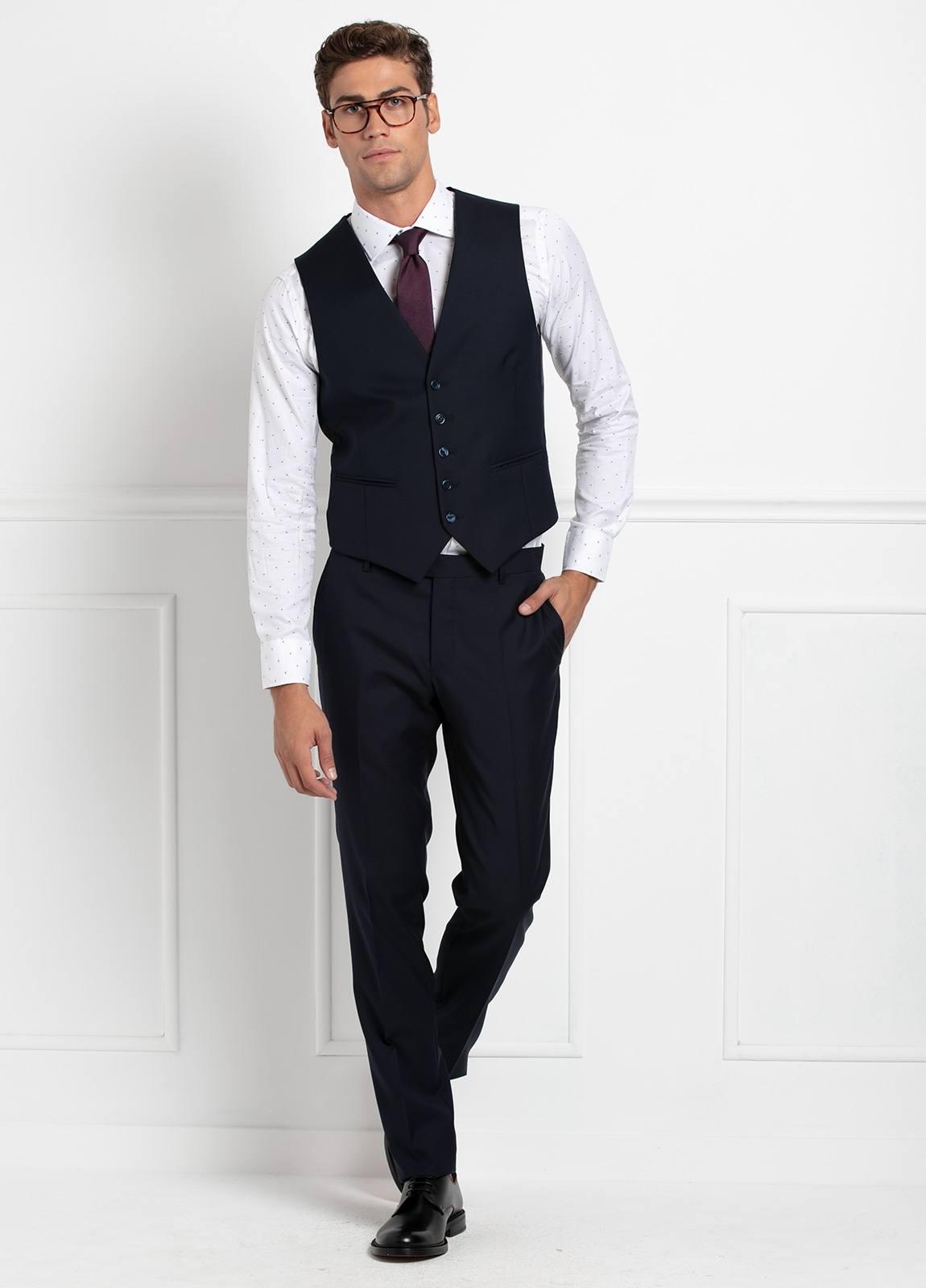 Traje liso SLIM FIT, tejido VBC con chaleco incluido, color azul marino, 100% Lana. - Ítem8