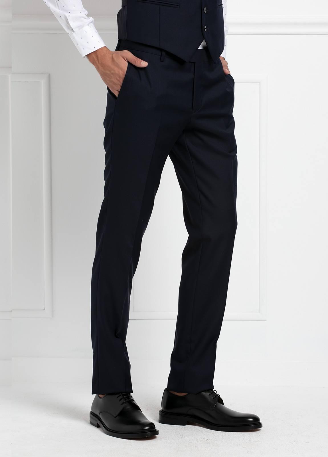 Traje liso SLIM FIT, tejido VBC con chaleco incluido, color azul marino, 100% Lana. - Ítem5