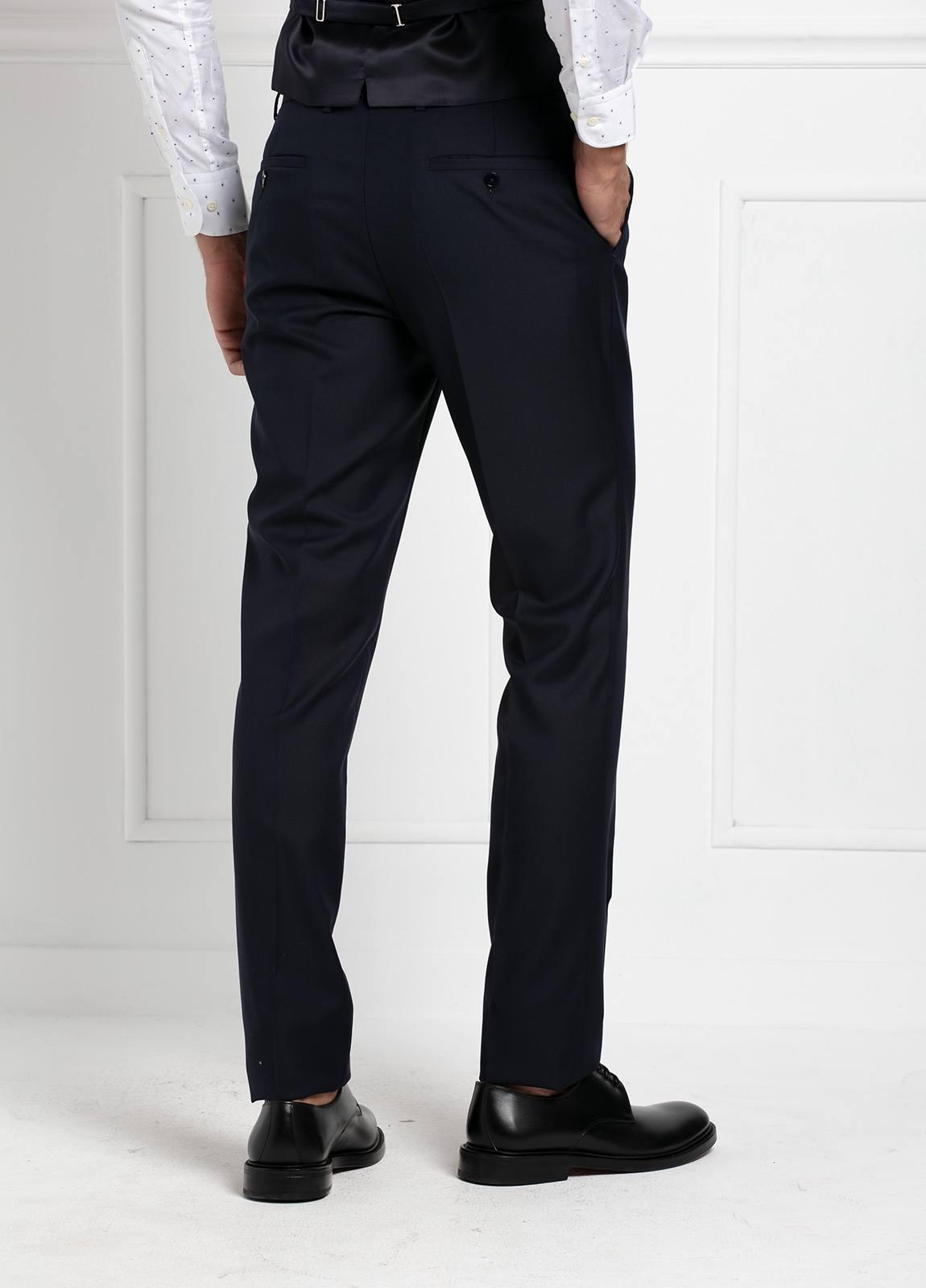 Traje liso SLIM FIT, tejido VBC con chaleco incluido, color azul marino, 100% Lana. - Ítem3