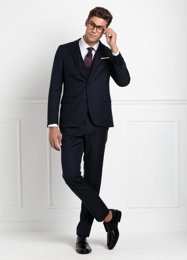 Traje liso SLIM FIT, tejido VBC con chaleco incluido, color azul marino, 100% Lana.