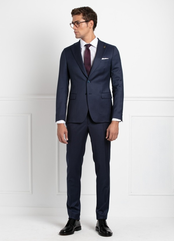 Traje 2 botones SLIM FIT liso color azul, 100% Lana virgen.