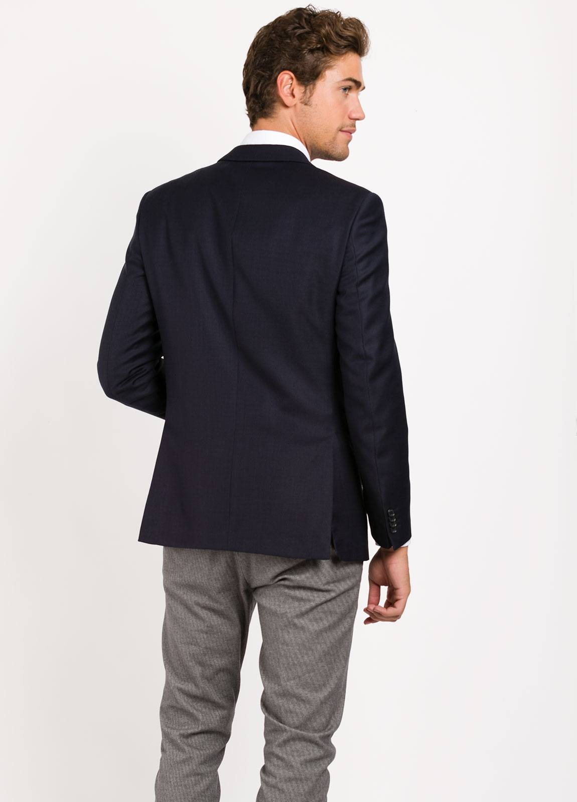 Americana SOFT JACKET Regular Fit, tejido Marzotto textura color azul marino, Lana. - Ítem4
