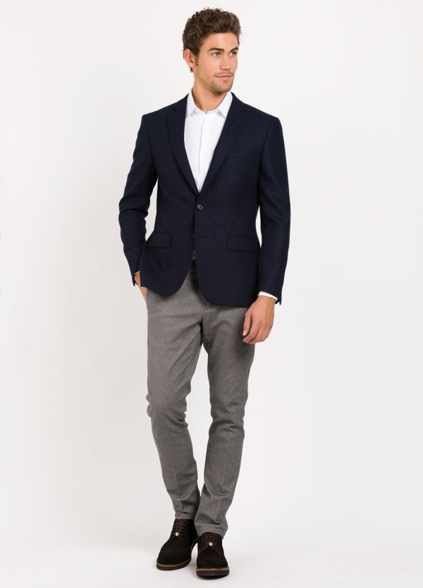 Americana SOFT JACKET Slim Fit, tejido Marzotto textura color azul marino, Lana.