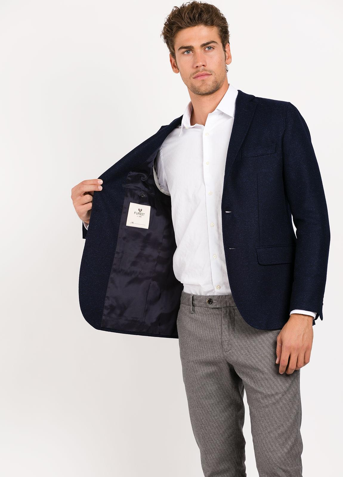 Americana SOFT JACKET Slim Fit, tejido Bottoli textura color azul marino, Lana. - Ítem3