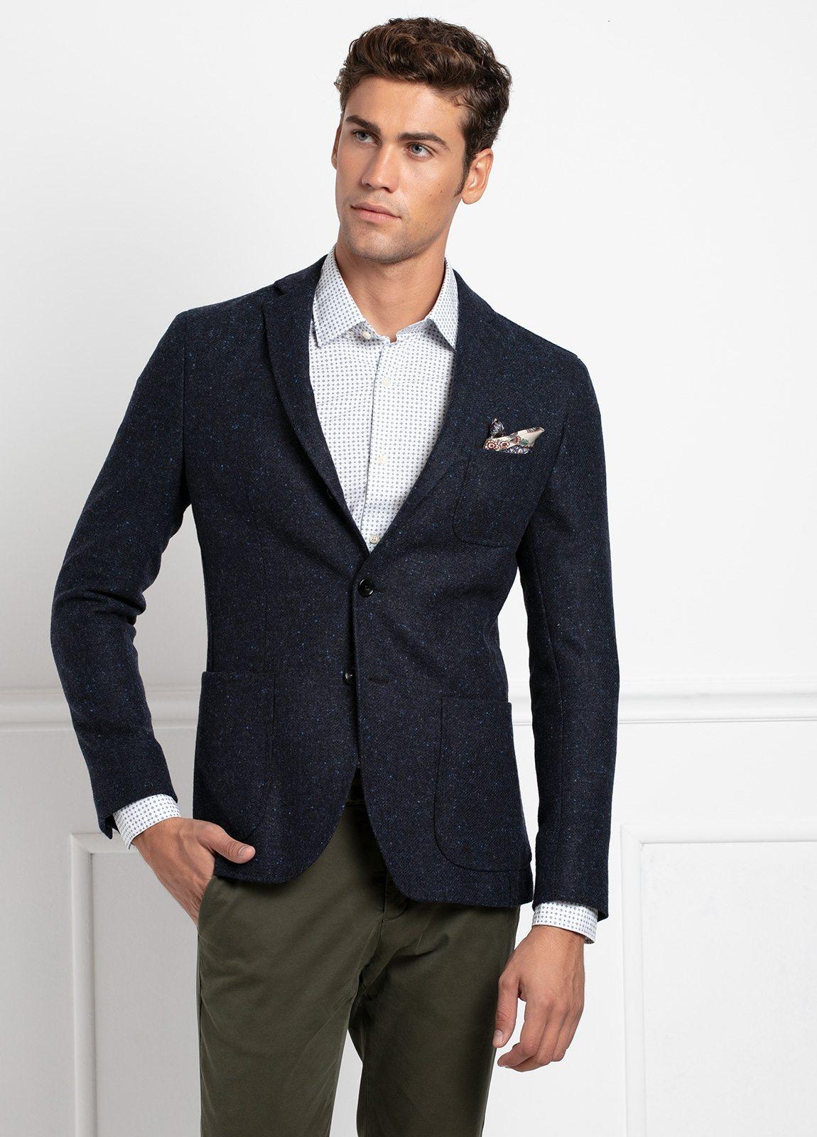 Americana SOFT JACKET Slim Fit, tejido textura color azul oscuro. 100% Lana.