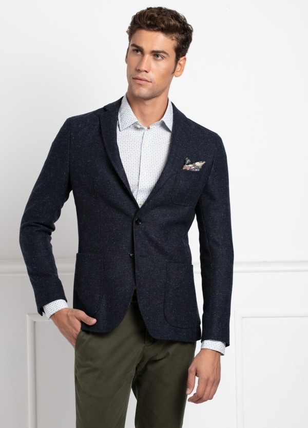 Americana SOFT JACKET Slim Fit, tejido textura color azul oscuro. 100% Lana.
