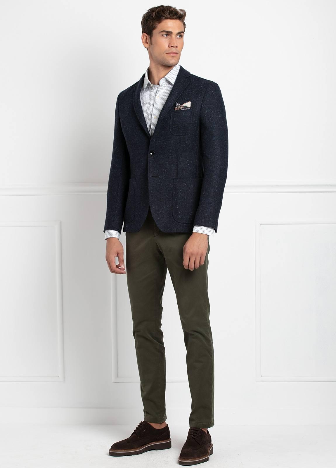 Americana SOFT JACKET Slim Fit, tejido textura color azul oscuro. 100% Lana. - Ítem3