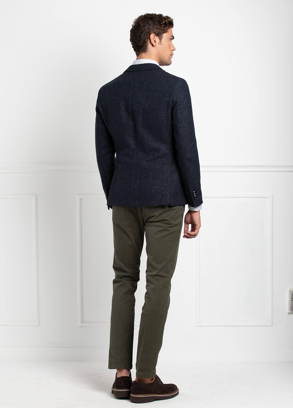 Americana SOFT JACKET Slim Fit, tejido textura color azul oscuro. 100% Lana. - Ítem1