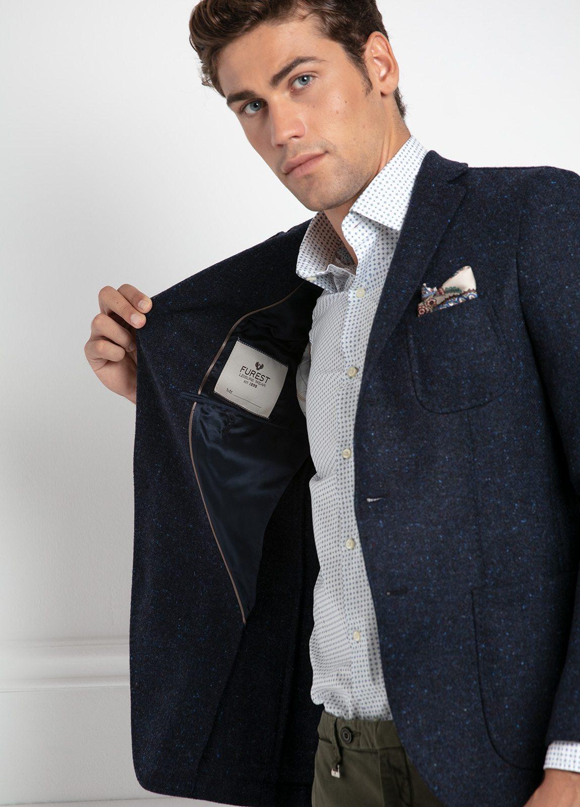 Americana SOFT JACKET Slim Fit, tejido textura color azul oscuro. 100% Lana. - Ítem2