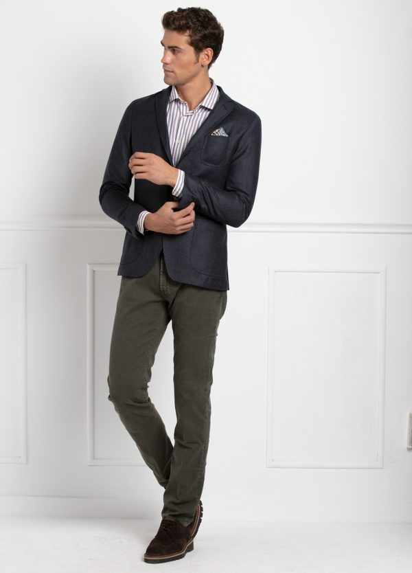 Americana SOFT JACKET Slim Fit, diseño tipo Cheviot cuadro vichy color gris. 100% Lana.