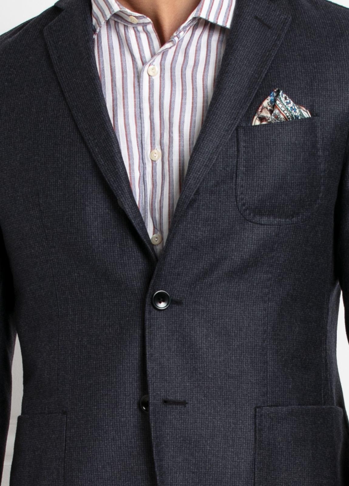 Americana SOFT JACKET Slim Fit, diseño tipo Cheviot cuadro vichy color gris. 100% Lana. - Ítem4
