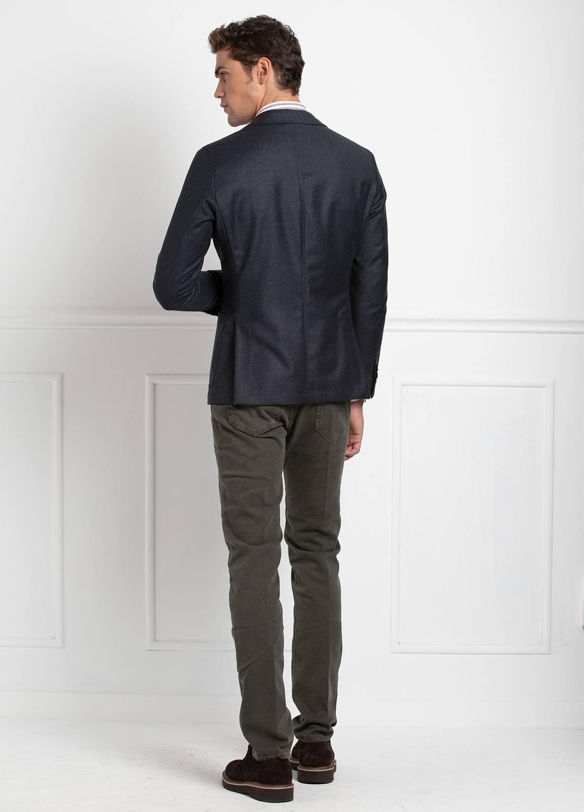 Americana SOFT JACKET Slim Fit, diseño tipo Cheviot cuadro vichy color gris. 100% Lana. - Ítem3