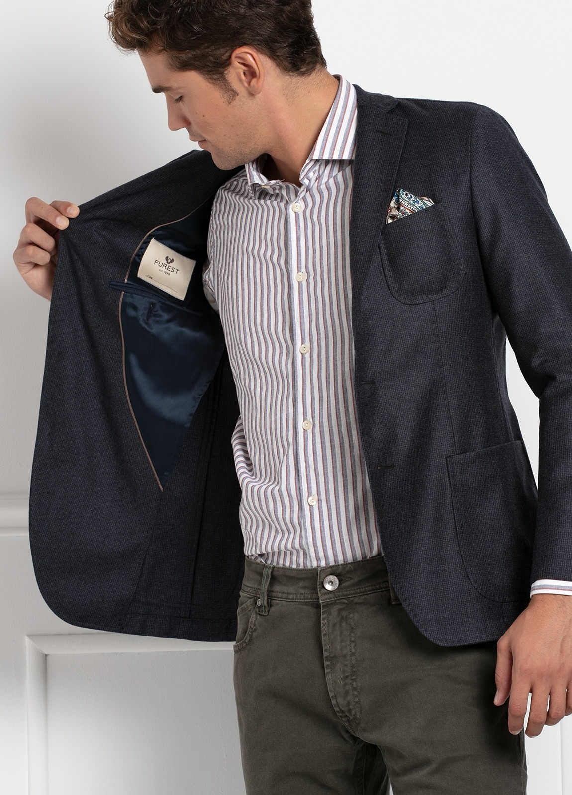 Americana SOFT JACKET Slim Fit, diseño tipo Cheviot cuadro vichy color gris. 100% Lana. - Ítem2